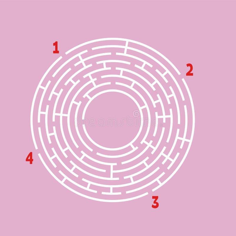 Abstrakcjonistyczny round labirynt gemowi dzieciaki Łamigłówka dla dzieci Znajduje prawą ścieżkę Labitynt zagadka Płaski wektorow ilustracja wektor