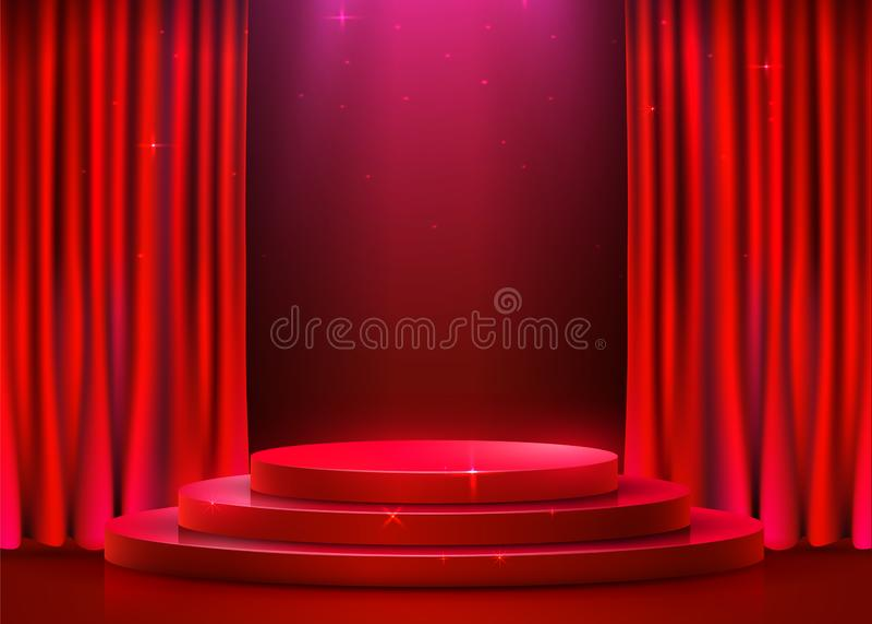 Abstrakcjonistyczny round podium iluminujący z światło reflektorów i zasłoną Ceremonii wr?czenia nagr?d poj?cie Sceny t?o royalty ilustracja