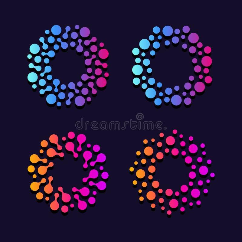 Abstrakcjonistyczny round wybuch Sieci baza danych Apteki laboratorium znaki Wprowadza innowacje nauka wektoru loga ilustracji