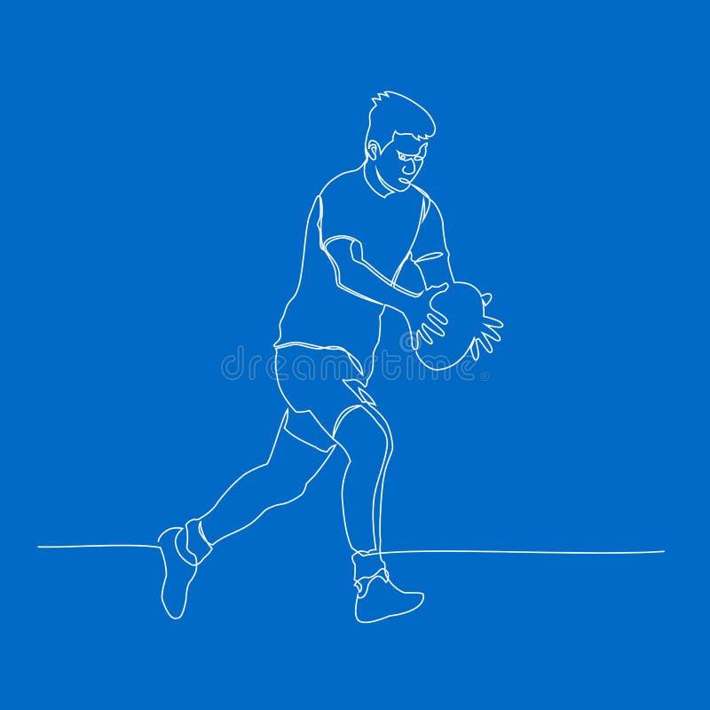 Abstrakcjonistyczny rugby gracz, liniowy kreskowy wektor royalty ilustracja