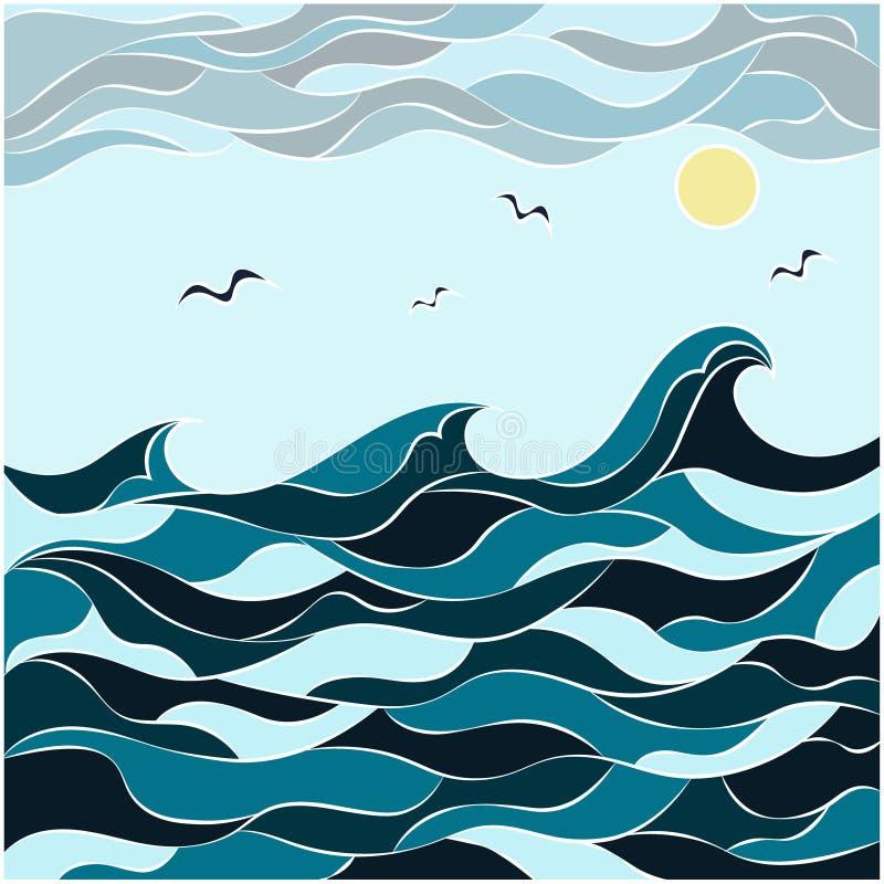 Abstrakcjonistyczny rysunek w stylu dudling morza, fal i nieba, Natura w abstrakcjonistycznym stylu royalty ilustracja
