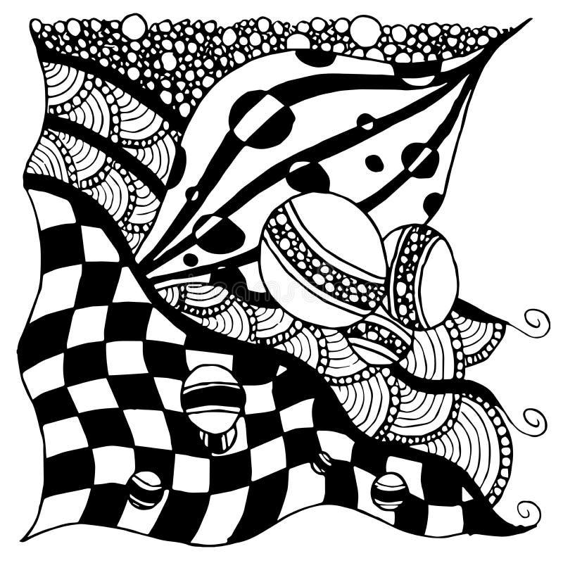 Abstrakcjonistyczny rysunku wz?r, przypadkowy set pr??kowani elementy, czarny i bia?y abstrakcja pionowo uk?ad, szachy wz?r wewn? royalty ilustracja