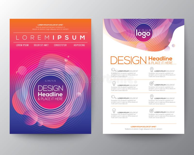 Abstrakcjonistyczny rzadkopłynny purpurowy błękitny okręgu kształt barwi na żywym gradientowym tle Szablon dla broszurki, ulotka, ilustracja wektor