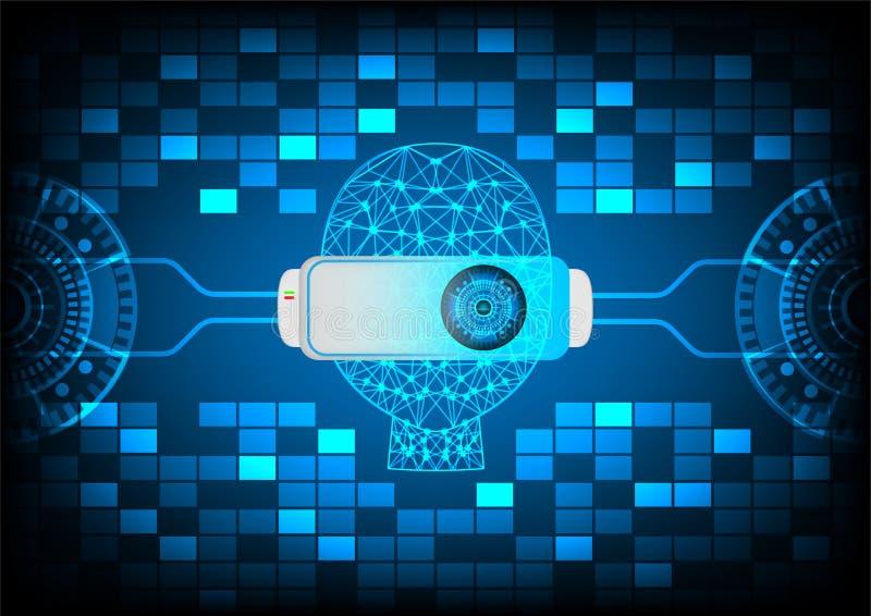 Abstrakcjonistyczny rzeczywistości wirtualnej VR technologii tło ilustracja wektor