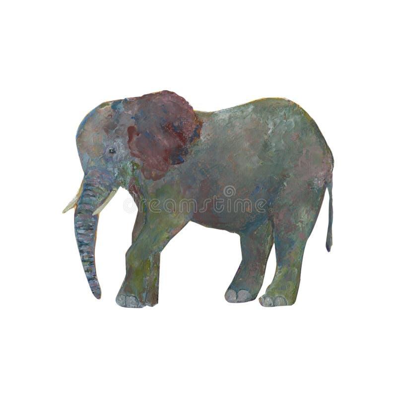 Abstrakcjonistyczny słoń odizolowywający na białym tle ilustracja wektor