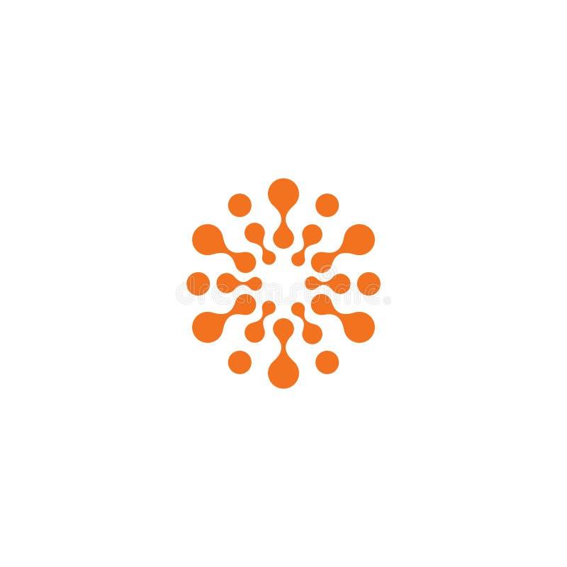 Abstrakcjonistyczny słońce, pomarańczowy kolor odnosić sie okrąża loga Nowa technologia wektoru symbol ilustracji