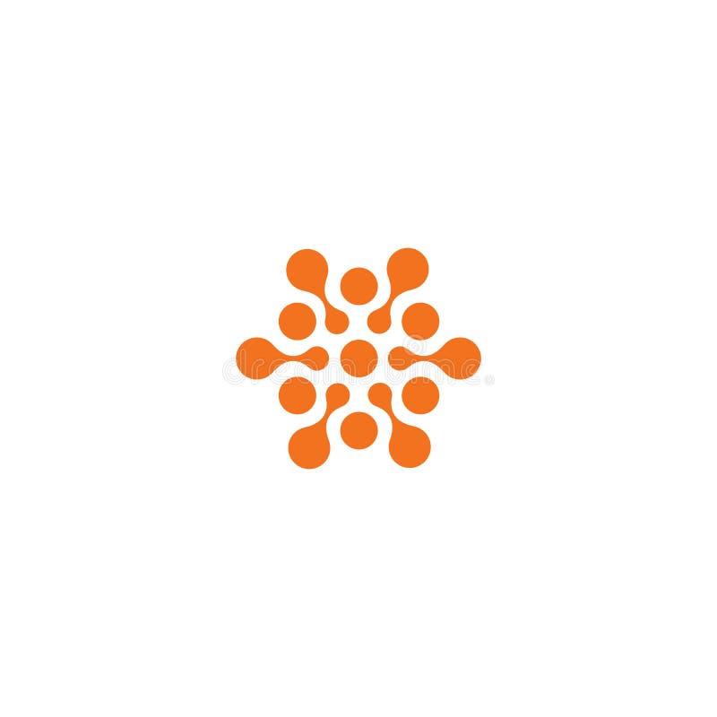 Abstrakcjonistyczny słońce, pomarańczowy kolor odnosić sie okrąża loga Nowa technologia wektoru symbol royalty ilustracja