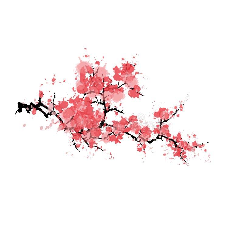 Abstrakcjonistyczny Sakura okwitnięcie odizolowywający na białym tle ilustracja wektor