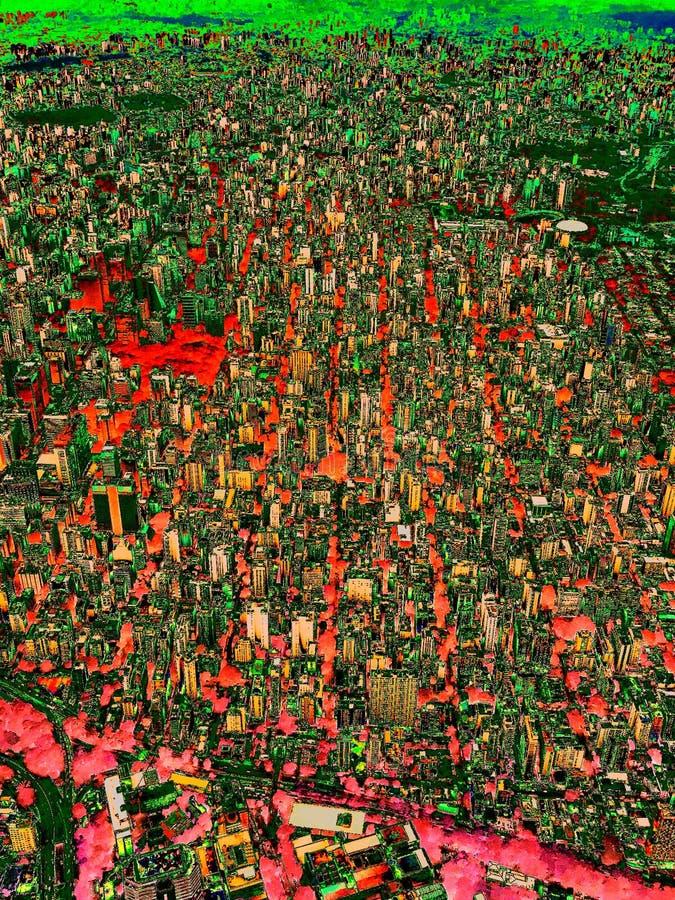 Abstrakcjonistyczny Sao Paulo w czerwieni i zieleni, Cyfrowej sztuka ilustracji