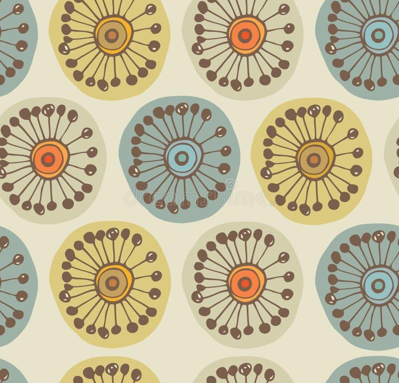 Abstrakcjonistyczny scandinavian bezszwowy wzór. Tkaniny tekstura z dekoracyjnymi kwiatami royalty ilustracja