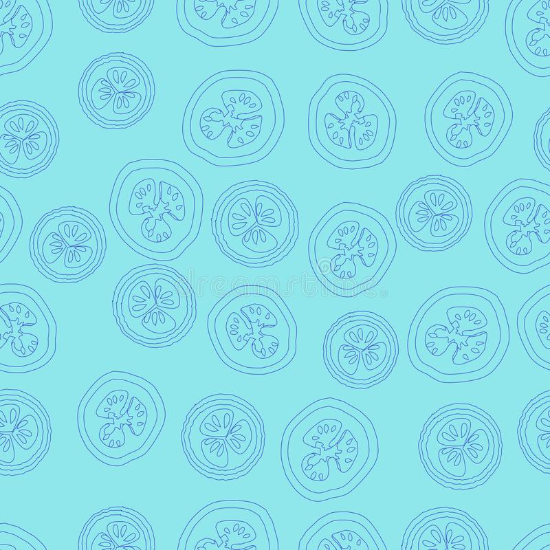 Abstrakcjonistyczny seemless wzór, wektor, kształty, liniowi, round kształty, błękitni ilustracja wektor