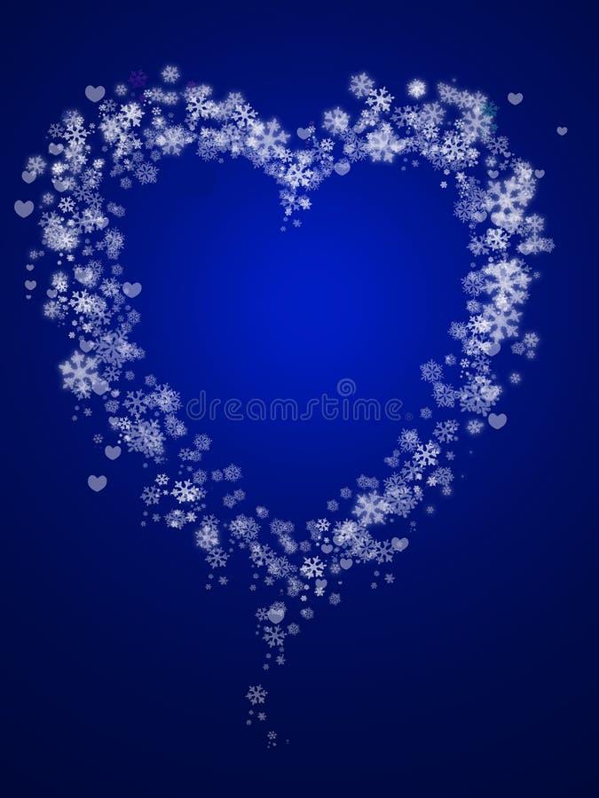 abstrakcjonistyczny serc kształta płatek śniegu ilustracja wektor