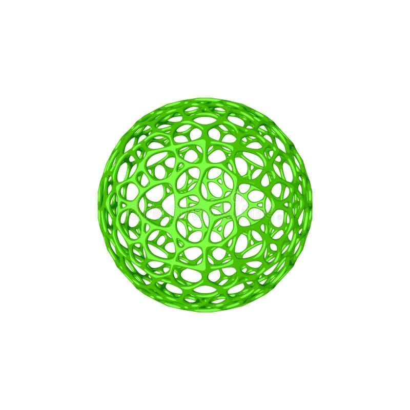 Abstrakcjonistyczny sfery wireframe Na białym tle - ludzki charakter - 3d rend ilustracja wektor
