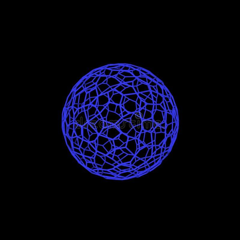 Abstrakcjonistyczny sfery wireframe Odizolowywający na czarny tle 3D rende ilustracja wektor