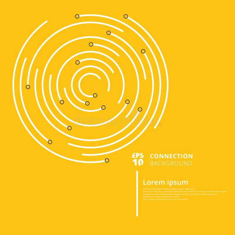 Abstrakcjonistyczny sieć związek okrąża linie i guzek na koloru żółtego bac ilustracja wektor