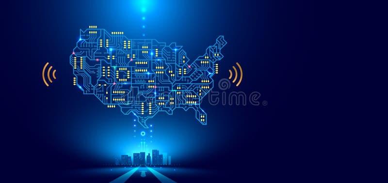 Abstrakcjonistyczny sieci komunikacyjnej mapy usa lub Ameryka jako drukowana obwód deska Mądrze miasto łączący z krajem technolog ilustracja wektor