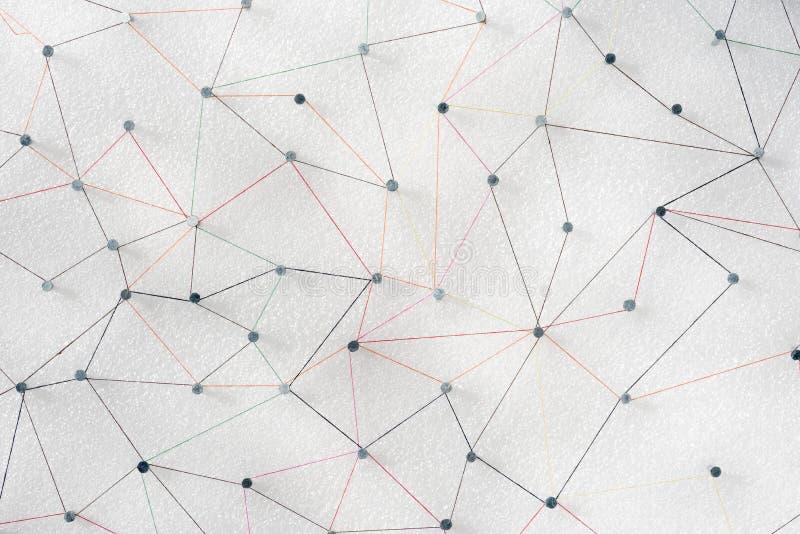 Abstrakcjonistyczny sieci linii związek kolor przędza od gwoździa guzka skinąć zdjęcia stock