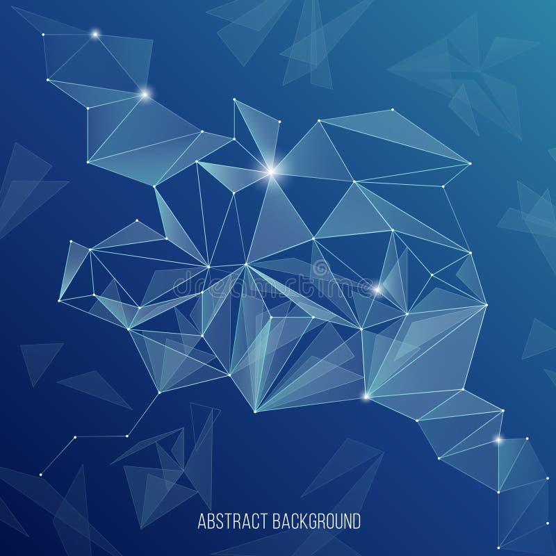 Abstrakcjonistyczny sieci technologii tło Globalny internet wskazuje podłączeniową wektorową ilustrację royalty ilustracja