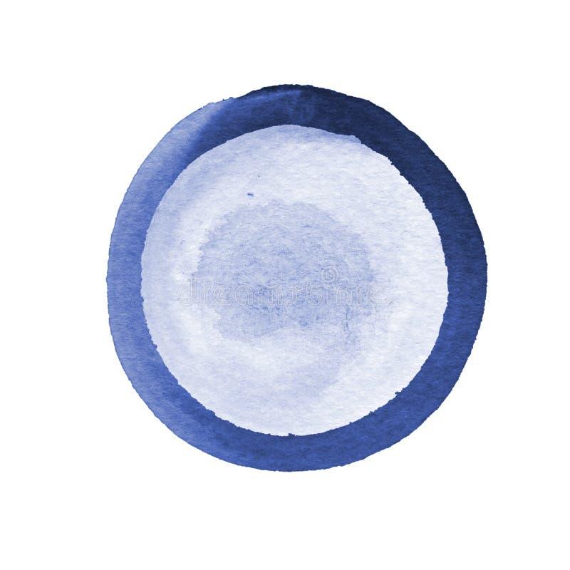 Abstrakcjonistyczny skład akwarela okręgi w błękicie i szarość na białym tle Szablon z pustą przestrzenią ilustracji