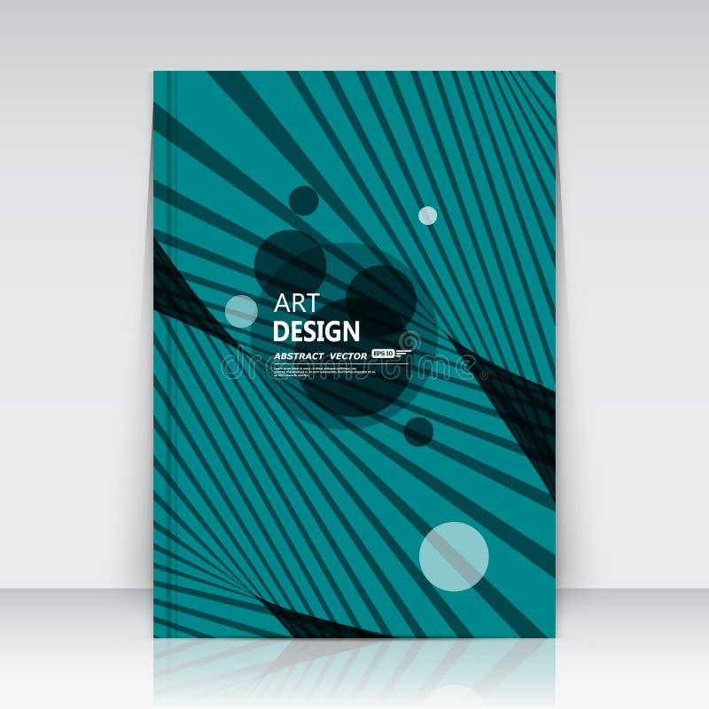 Abstrakcjonistyczny skład, round tekst ramy powierzchnia, turkusowy a4 broszurki tytułu prześcieradło, kreatywnie postać loga zna royalty ilustracja