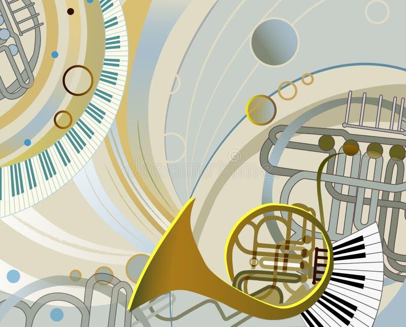 Abstrakcjonistyczny skład z instrumentami muzycznymi ilustracja wektor