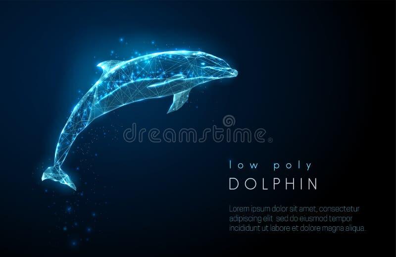 Abstrakcjonistyczny skokowy delfin Niski poli- stylowy projekt ilustracji