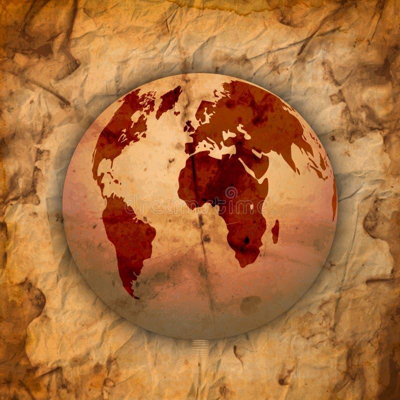 Abstrakcjonistyczny Stary grungy papier i światowa mapa ilustracja wektor