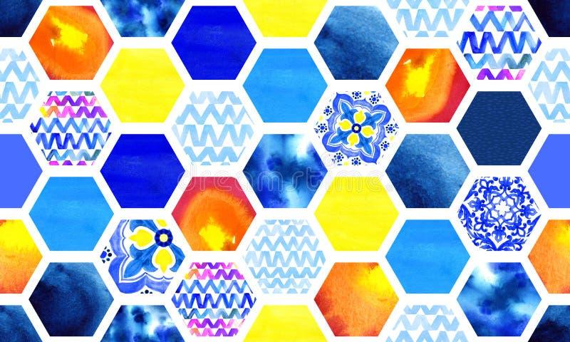 Abstrakcjonistyczny stubarwnego i błękitnego akwareli barwidła bezszwowy wzór zdjęcie royalty free
