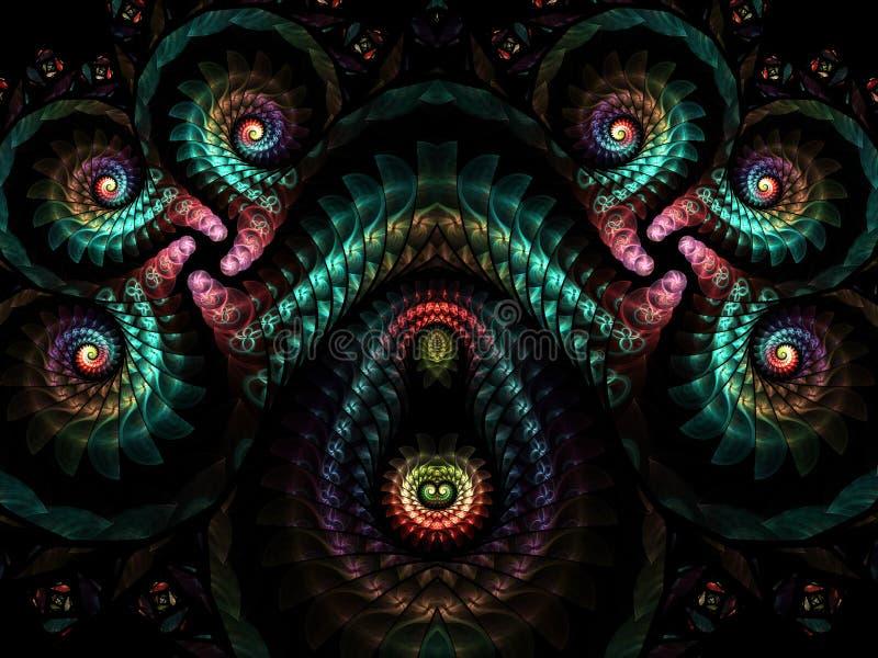 Abstrakcjonistyczny stubarwny fractal wzór komputer generuje grafiki ilustracja wektor