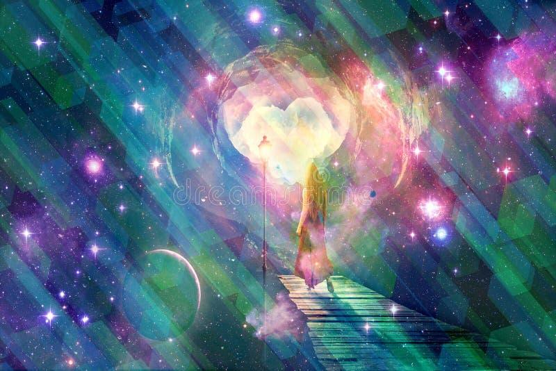 Abstrakcjonistyczny Stubarwny Lustrzany skutek Na Cyfrowej Abstrakcjonistycznej kobiety galaktyk Rekonesansowej grafice ilustracji