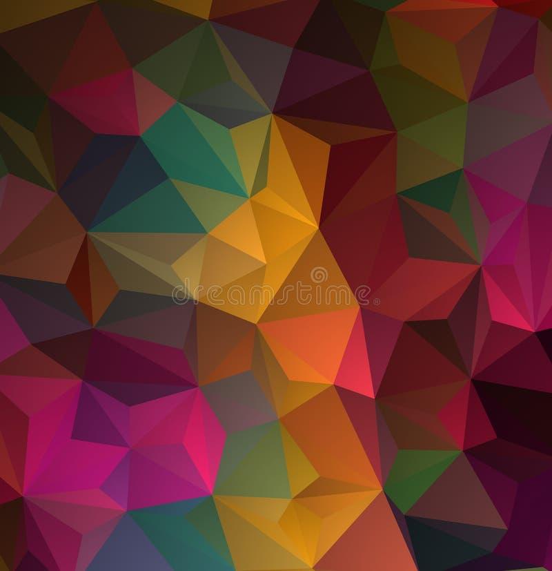 Abstrakcjonistyczny stubarwny wielobok, niski wieloboka tło Przetaczanie kolor wszystko farbuje tęczę geometryczny ilustracja wektor