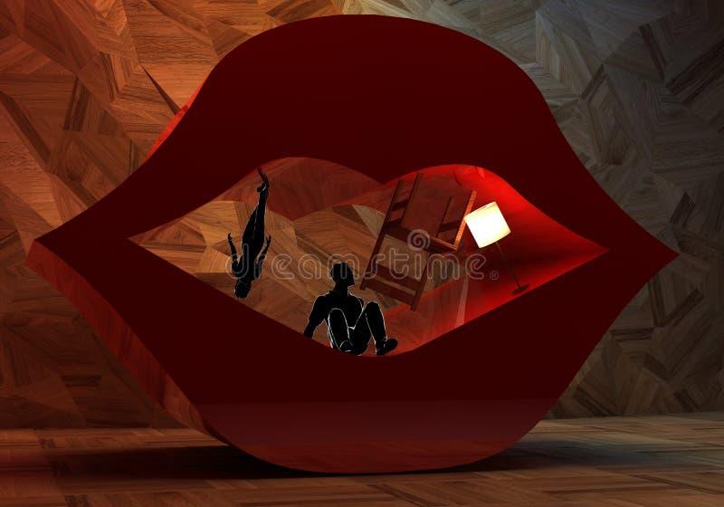 Abstrakcjonistyczny surrealistyczny wnętrze i para w otwarte wargi royalty ilustracja