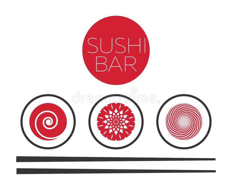 Abstrakcjonistyczny suszi baru loga wektoru karmowy szablon ilustracja wektor