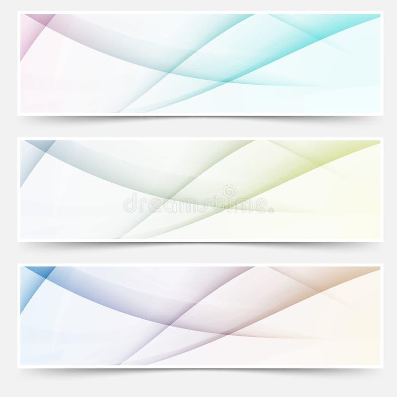Abstrakcjonistyczny swoosh linii chodnikowa sieci stopki set ilustracja wektor