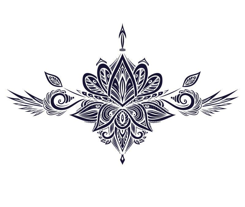 Abstrakcjonistyczny symbol w Boho stylu dla tatua?u czerni na bielu ilustracji