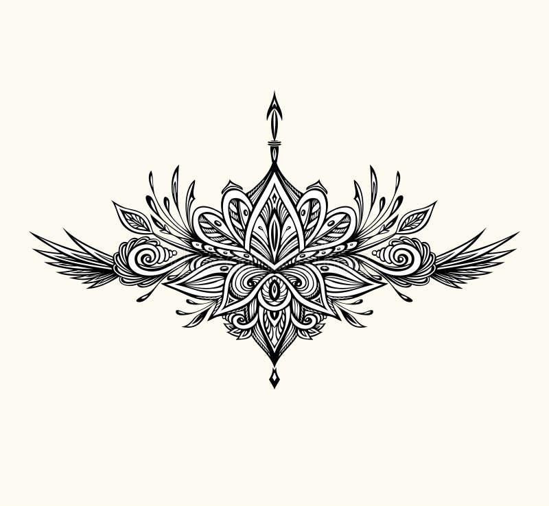 Abstrakcjonistyczny symbol w Boho stylu dla tatua?u czerni na bielu ilustracja wektor