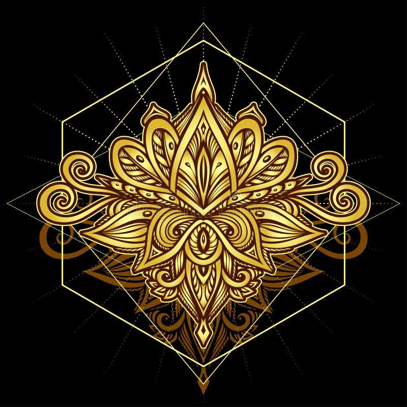 Abstrakcjonistyczny symbol w Boho stylu z?ocie na czerni dla dekoracji co? ilustracji