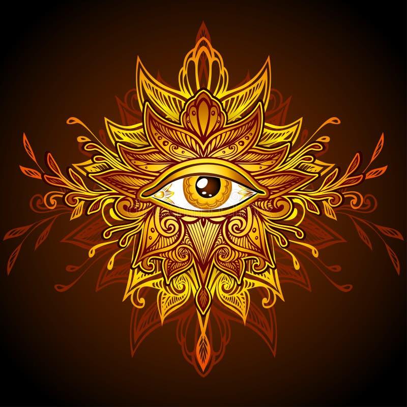 Abstrakcjonistyczny symbol Wszystkowidzący oko w Boho żółtego złota stylowym brązie ilustracji