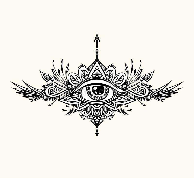 Abstrakcjonistyczny symbol Wszystkowidz?cy oko w Boho stylu dla tatua?u czerni na bielu ilustracja wektor