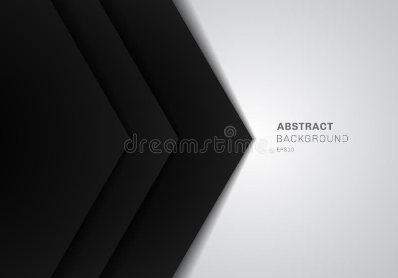 Abstrakcjonistyczny szablonu 3D czerni trójbok z nasunięcie papieru warstwy gradientowym kolorem na białym tle z kopii przestrzen ilustracji