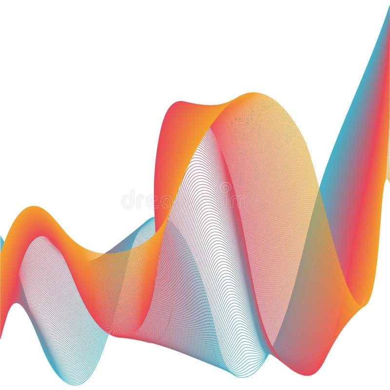 Abstrakcjonistyczny szablonu tło z muzycznym rozsądnym falowego wektoru mieszanki linii chodnikowa kolorowym sztandarem ilustracji