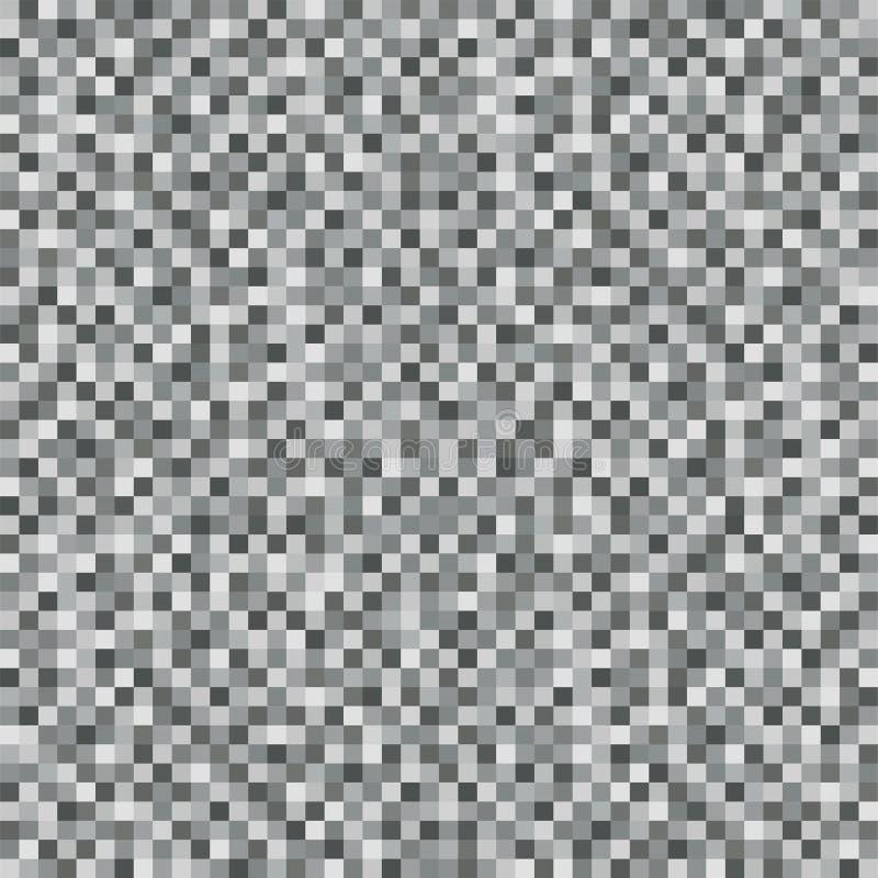 Abstrakcjonistyczny szarość kwadrata piksla mozaiki tło bezszwowy wzoru Hałas tekstura Geometryczny styl wektor royalty ilustracja