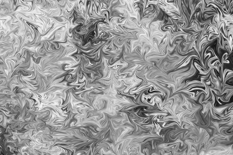 Abstrakcjonistyczny Szary Czarny I Biały Marmurowy atramentu wzoru tło Upłynnia abstrakta wzór Z Czarną, Białą, Popielatą grafika zdjęcie stock