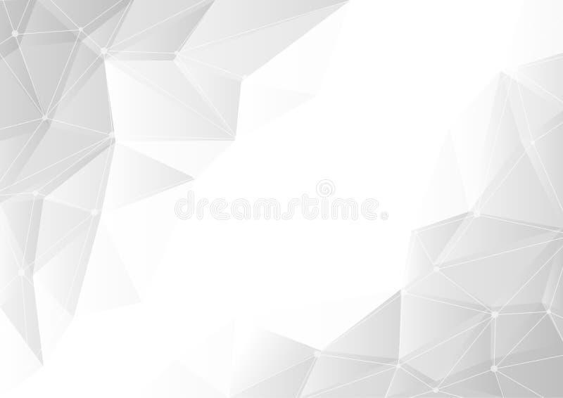 Abstrakcjonistyczny szary gradientowy geometryczny na białym tle z kopii przestrzenią, chaosie związane linie i kropkach, royalty ilustracja