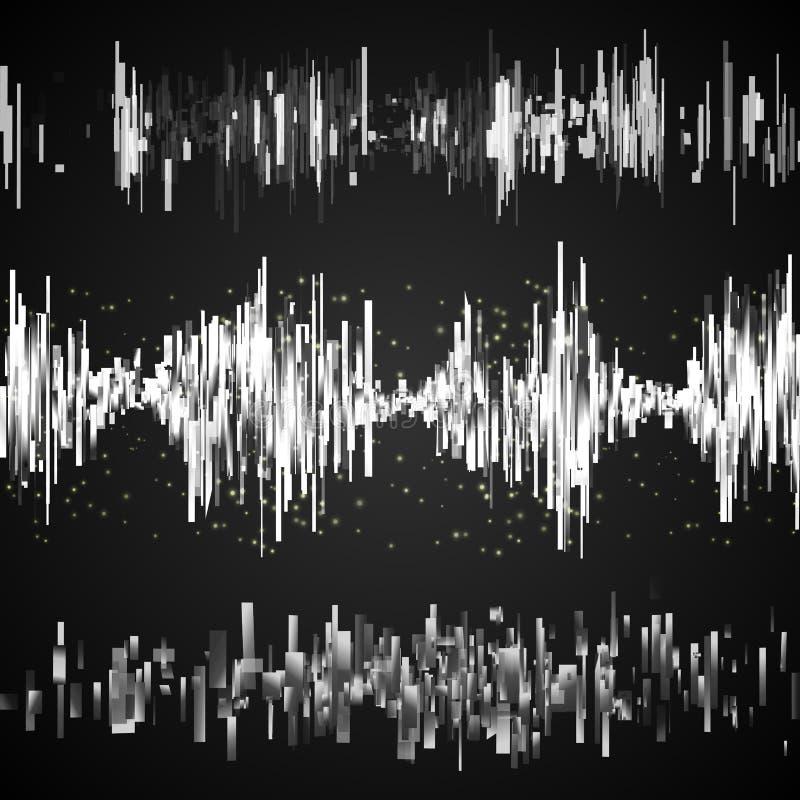 Abstrakcjonistyczny szary muzyczny wyrównywacza set royalty ilustracja
