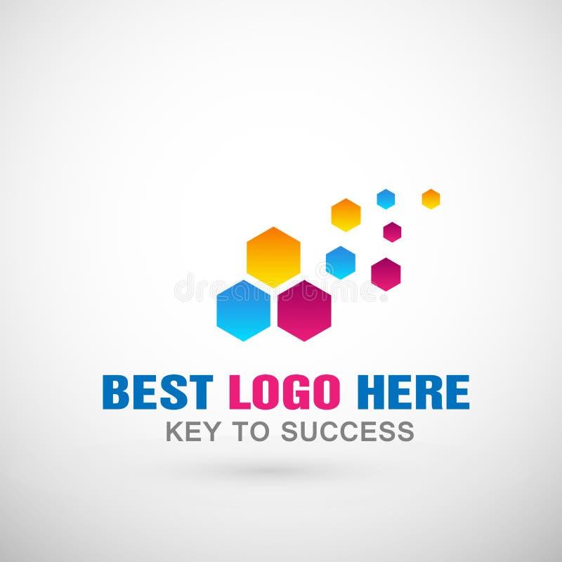 Abstrakcjonistyczny sześciokąt kształtujący biznesowy logo, zjednoczenie na Korporacyjnym Inwestuje Biznesowego loga projekt Pien ilustracji