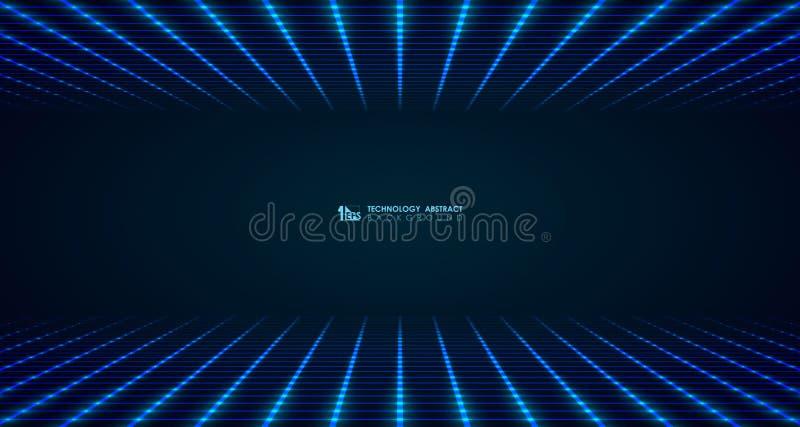 Abstrakcjonistyczny szeroki futurystyczny kwadratowy siatki linii wzór łączy tło Ilustracyjny wektor eps10 ilustracja wektor