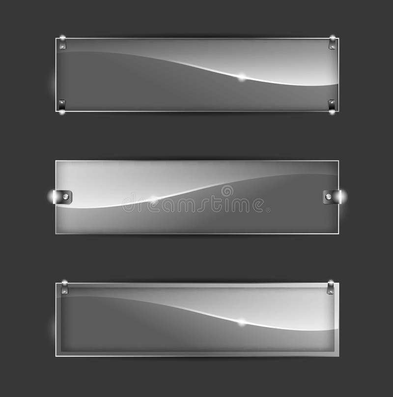 Abstrakcjonistyczny szklany sztandar ilustracja wektor