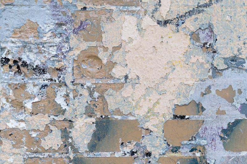 Abstrakcjonistyczny tło ściana z cegieł, tekstura z punktami i warstwy stara farba, fotografia royalty free