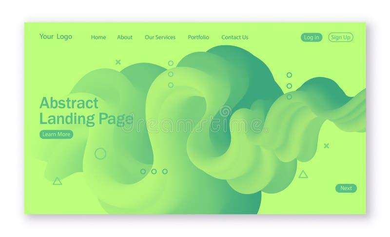 Abstrakcjonistyczny tło z ciecz formą w zielonych kolorach dla lądować stronę royalty ilustracja